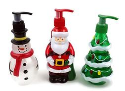 Holiday Hand Soaps Trio. Christmas themed dispensers shaped
