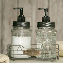 Hoosier Soap And Lotion Caddy With Glass Dispensers Bathroom