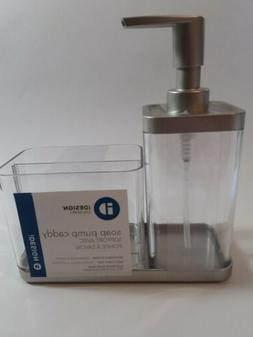 iDesign Acrylic Soap Pump with Caddy, Dispenser with Storage