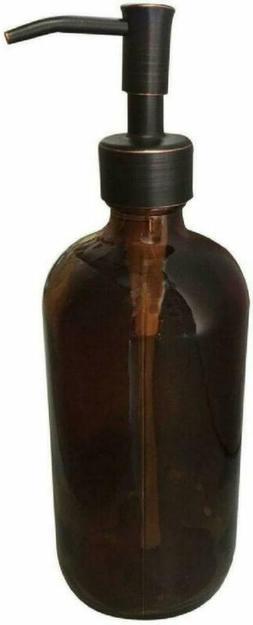 Industrial Rewind Amber Glass With Bronze Soap Dispenser Pum