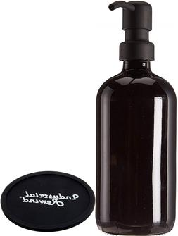 Industrial Rewind Black Glass Soap Dispenser With Metal Pump
