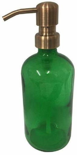 Industrial Rewind Green Glass Soap Dispenser With Copper Met