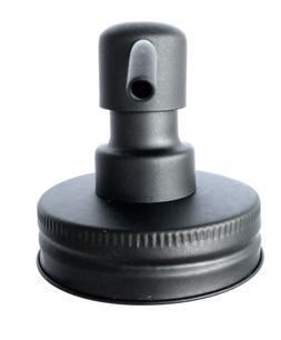 Mason Jar Soap Dispenser Lid Black Stainless Steel