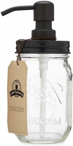 Jarmazing Products Mason Jar Soap Dispenser -Black -with 16