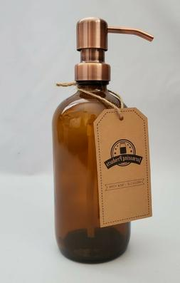 Jarmazing Soap or Lotion Dispenser Amber Glass Bottle Copper