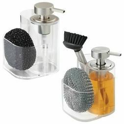 mDesign Kitchen Liquid Soap Dispenser Pump, Sponge Caddy, 2