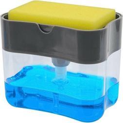 Kitchen Liquid Soap Pump Dispenser ABS Sponge Holder Press C