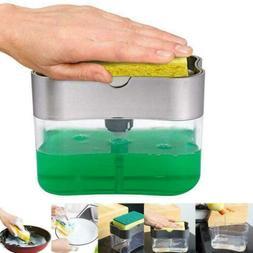 Kitchen Sink Storage Box Tray Sponge Manual Hand Press Soap