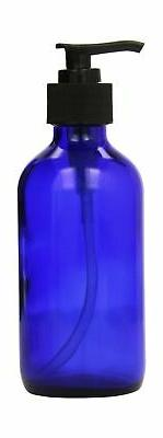 1 X 8 oz Cobalt Blue Glass Lotion / Soap Dispenser with Blac