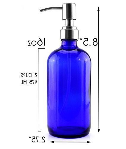 16-Ounce Cobalt Blue Bottles , Soap Pumps for Bottles, Lotions, and More