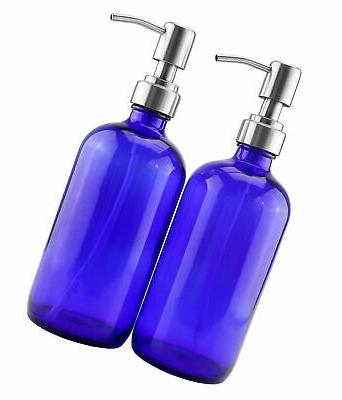 16-Ounce Cobalt Blue Glass Bottles w/Stainless Steel Pumps ,
