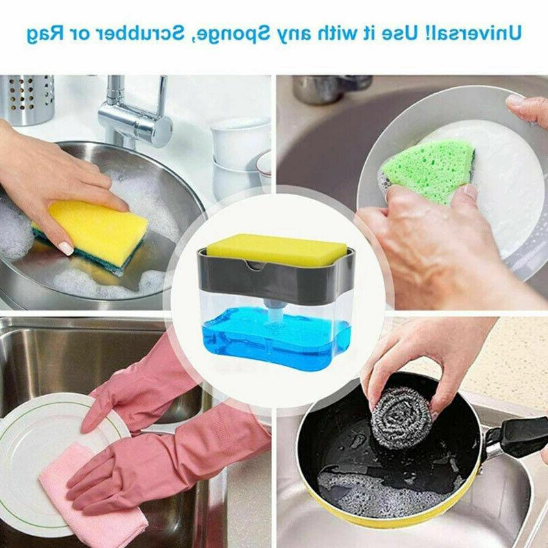 2 in 1 Home Liquid Soap Pump Dispenser ABS Kitchen Sponge Ho