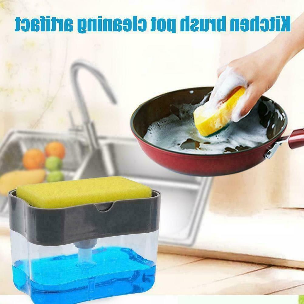 2 in1 Kitchen Liquid Soap Dispenser Sponge