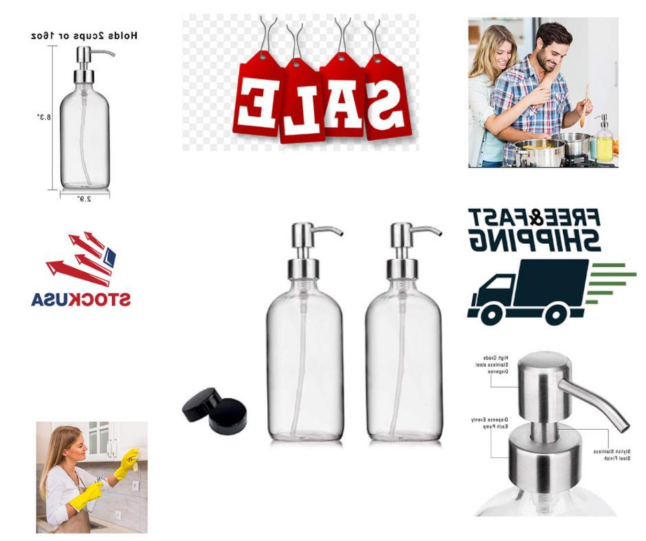 2 pack soap hand dispenser glass bottles