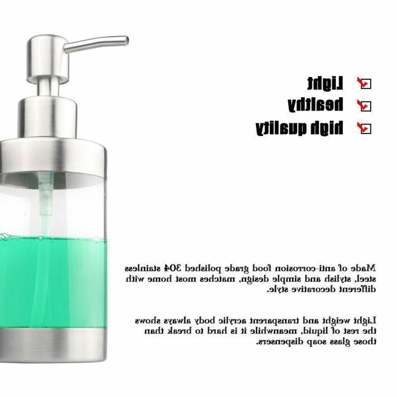 350ml Stainless Liquid Soap Dispenser Bottle Bathroom
