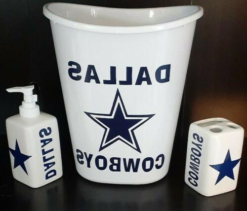 3pc dallas cowboys bathroom set soap dispenser