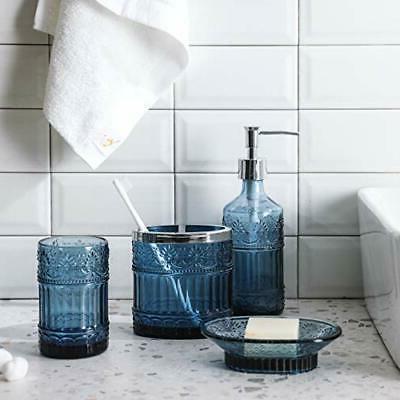 4PC Blue Clear Class Bathroom Accessory/Accessories w Soap