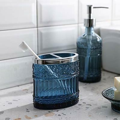 4PC Blue Clear Class Bathroom Accessory/Accessories Set Soap &