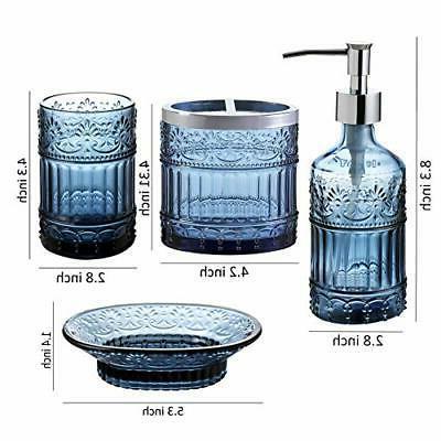 4PC Clear Class Bathroom Accessory/Accessories Set Soap