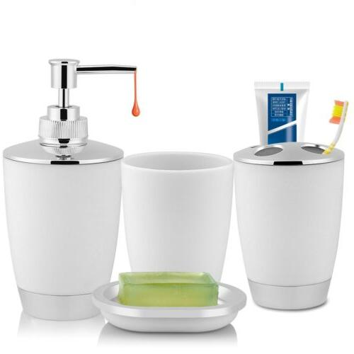 4-Piece Bathroom Accessories Soap Dispenser, Dish,Tumbler, Toothbrush Holder