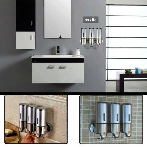 Bathroom Triple Shower Gel Dispenser Wall Mounted Body Lotio