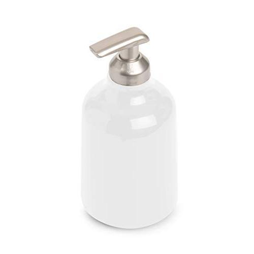 Step Soap Umbra, Liquid Soap Bathroom White Dispenser, White Finish