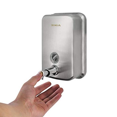 AIKE Manual Soap Wall Mount Dispenser,Brushed,17oz/500ml