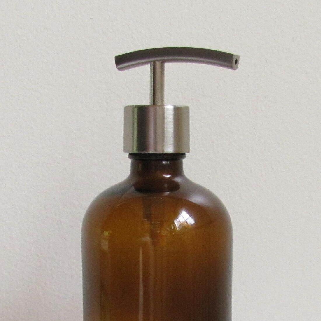 Amber Glass Soap Dispenser 16oz with Antique Copper Soap Dispenser Pump