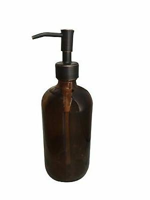 amber glass with bronze soap dispenser pump