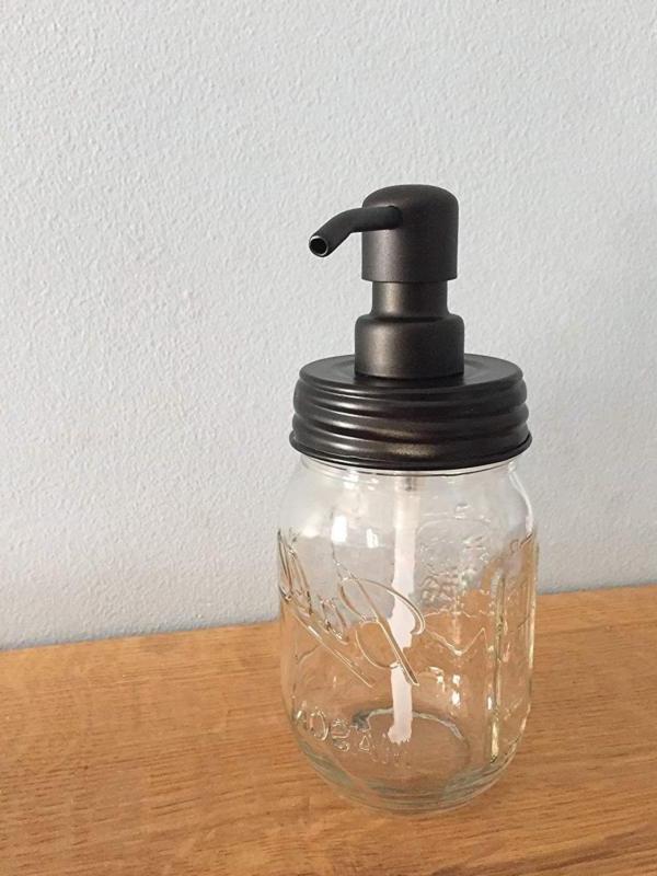 ball jar soap dispenser with metal black