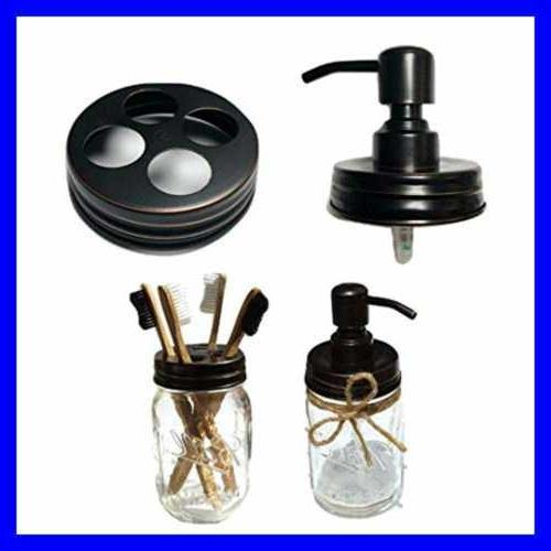 Bathroom Accessories Lid Set Includes Mason Jar Hand Soap Di