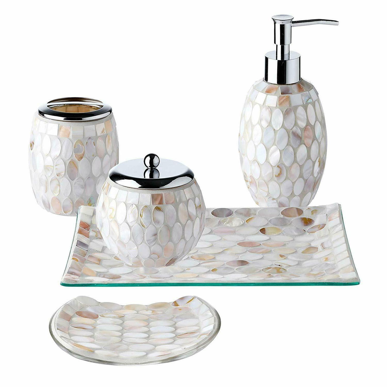 5PC Pearl Mosaic Glass Bathroom Accessory/Accessories Set w