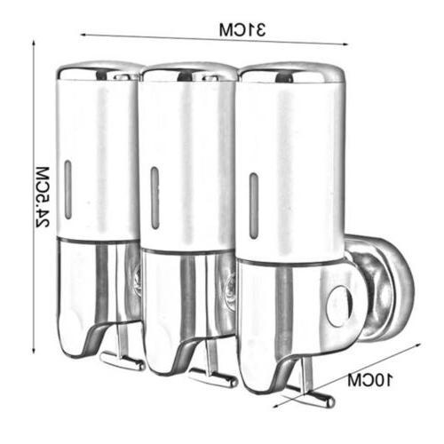 Bathroom Triple Shower Gel Dispenser Body Shampoo Liquid