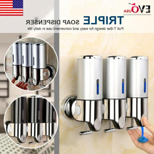 bathroom triple shower gel dispenser body lotion