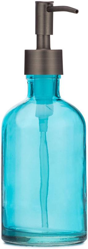 Rail19 Beach Blue Glass Lotion Soap Dispenser With Metal Pum