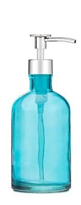 beach blue glass lotion soap dispenser