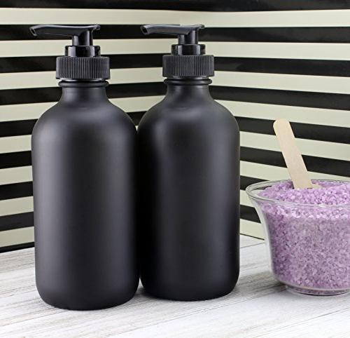 Cornucopia Black 8-Ounce , Black Nozzles for Lotions, Soap