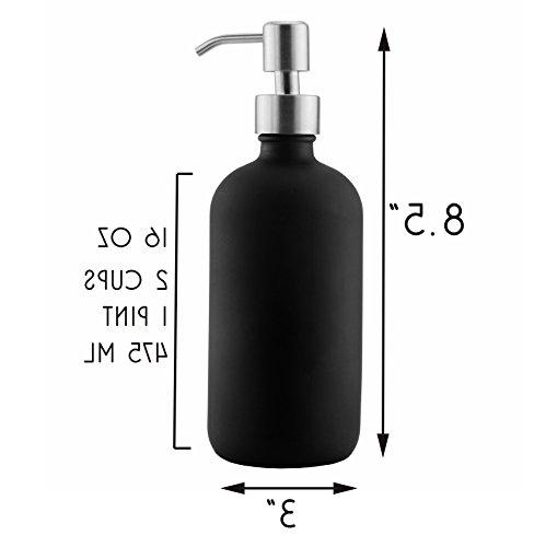 16oz w/Stainless Black Coated Round; Lotion Soap Dispensers