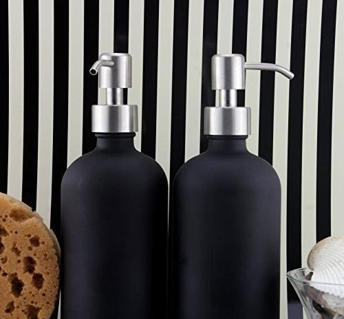 16oz Black Glass Bottles w/Stainless Steel ; Black Lotion