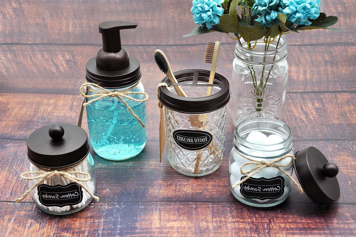 Bronze Jar Soap Dispenser Pump Qtip Apothecary Holder