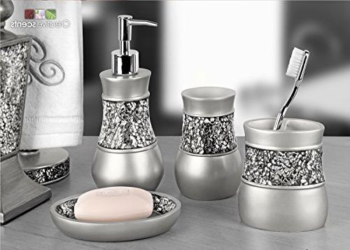 Creative Scents Brushed Nickel Bathroom Accessories Piece Bath Features Holder, Soap