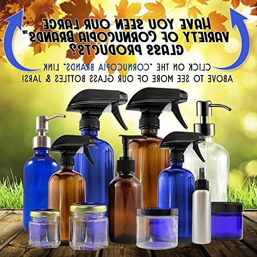 16-Ounce Cobalt Glass Bottles w/Stainless , Dispenser Pumps Essential Bottles, Liquid and More