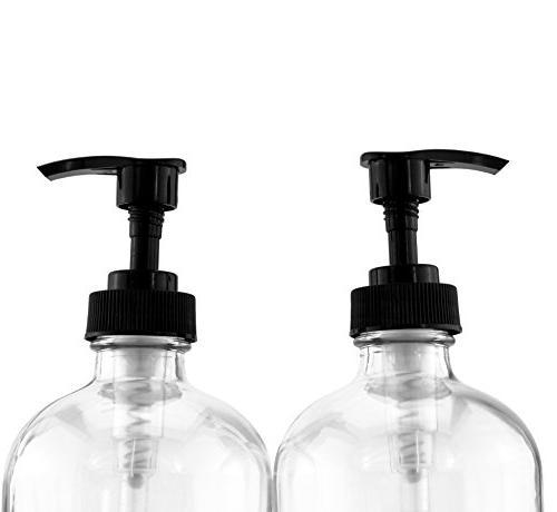 Cornucopia Brands 16-Ounce Glass w/Pump ; Refillable Black Boston Round Bottles Chalk & BPA-Free