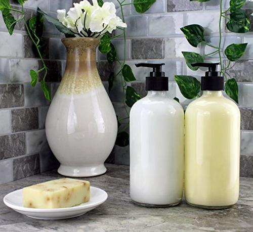 Cornucopia 16-Ounce Glass Bottles w/Pump ; Refillable Black Lotion Boston Chalk Lids, BPA-Free Plastic