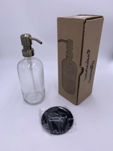 clear glass soap dispenser