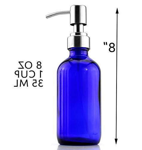 8-Ounce Cobalt Blue Bottles w/ Lotion ; Boston Round DIY, Lotions & Soap
