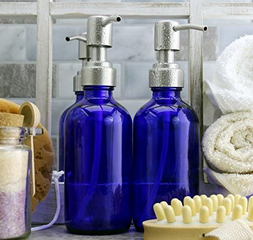 Bottles w/ Steel Lotion Pumps ; Round Dispensers for DIY, & Liquid Soap