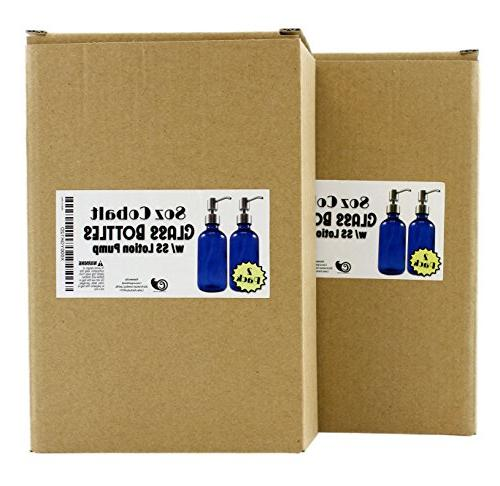 8-Ounce Cobalt Glass Bottles w/ Stainless Lotion Boston DIY, Lotions Soap