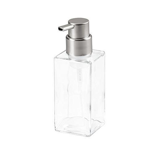 mDesign Glass Foaming Dispenser Bathroom or of 2, Blue/Brushed, Clear/Brushed