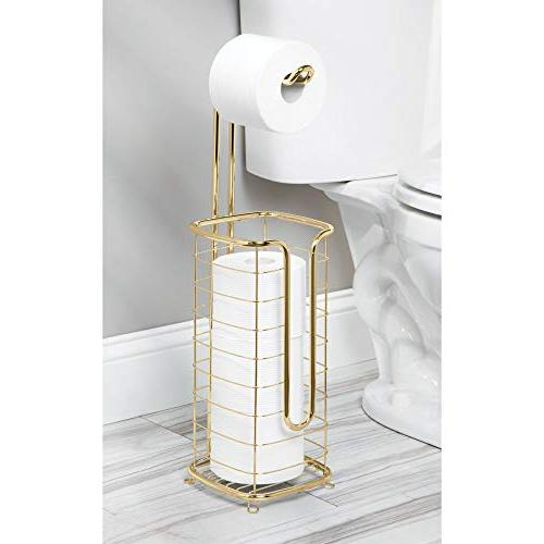 mDesign Decorative Metal Toilet Holder Stand and Roll and Spare Tissue for Rooms Holds Mega Square, Soft Brass